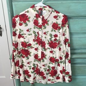 H&M Divided red flower blouse size 2